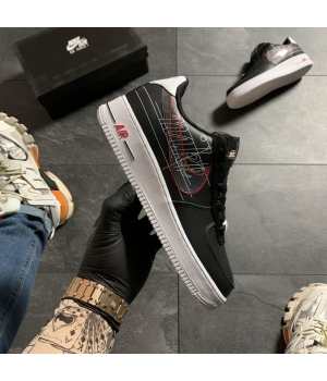 Nike Air Force 1 Black White Red- Женские Кроссовки
