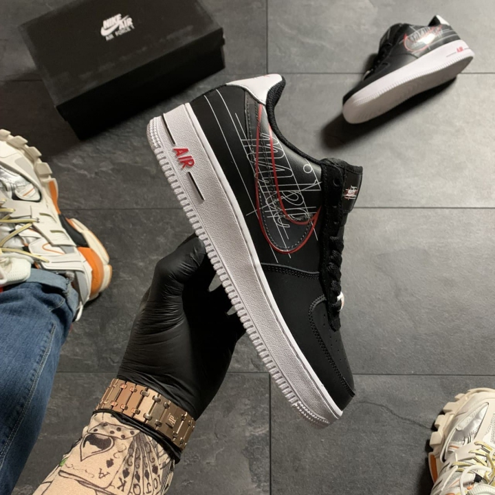 Nike Air Force 1 Black White Red - Женские Кроссовки