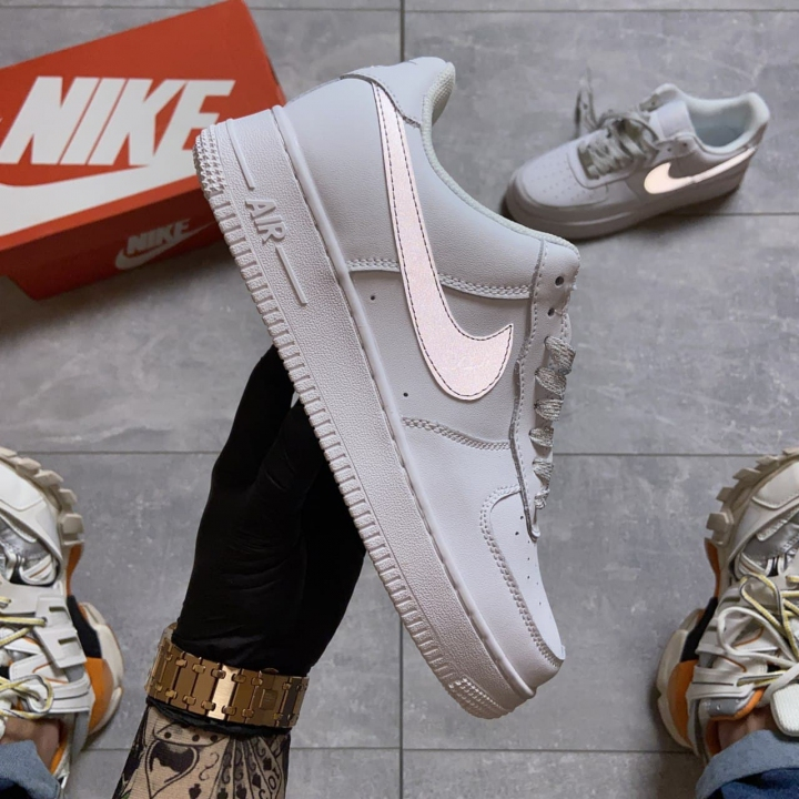 Nike Air Force 1 Low White REFLECTIVE - Женские Кроссовки