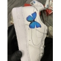 Nike Air Force 1 Low White-Blue Butterfly- Женские Кроссовки из Кожи