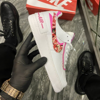 Nike Air Force Shadow White Pink Flower - Женские Кроссовки