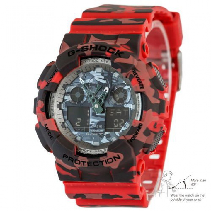 Casio G-Shock AAA GA-100 Military-Red Autolight